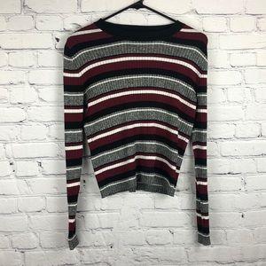 H&M Striped Cropped Long Sleeve Size Medium